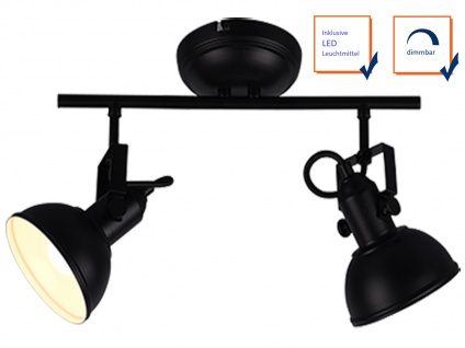 LED Deckenspot im Retro Look aus Metall in Schwarz dreh+ schwenkbar Wandstrahler - Vorschau 3