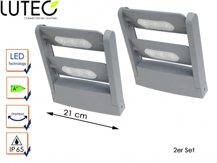 2-fl. LED Außenwandleuchte 2er Set Silber IP65 drehbar Fassadenbeleuchtung
