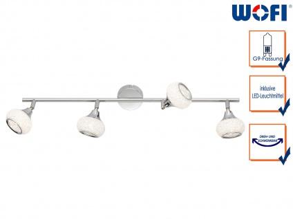LED Deckenstrahler Chrom poliert 4 drehbare Spots Deckenleuchte Wohnzimmer Diele