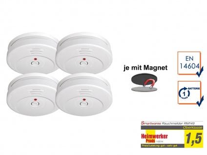 4er SET Rauchmelder TÜV zertifiziert & EASY Magnetmontage, Brand Feuer Melder