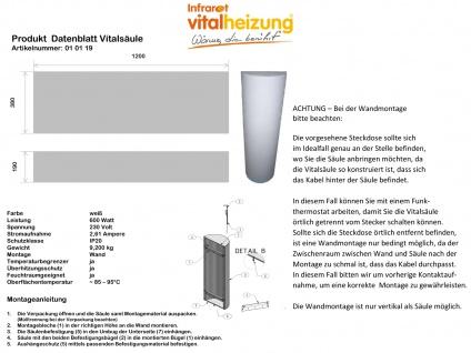 600W Infrarot Säulenheizung Heizsäule bemalbar 120cm, Vitalheizung - Vorschau 5