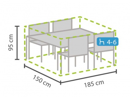 Schutzhülle M Abdeckung rechteckig 185x150cm für Gartenmöbel, Plane wasserdicht