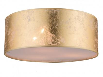 Globo Deckenleuchte 40cm mit LED Stoffschirm gold, Deckenlampe Wohnzimmer Flur
