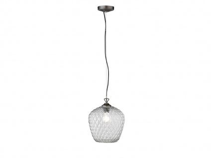 Pendelleuchte mit LED, Lampenschirm aus klarem Glas Ø25cm, Flurlampe Küchenlampe