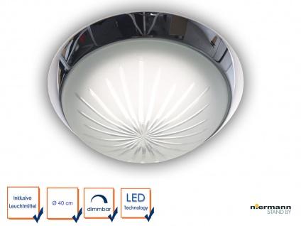 LED Deckenleuchte rund, Schliffglas satiniert, Dekorring Chrom, Ø 40cm Bürolampe