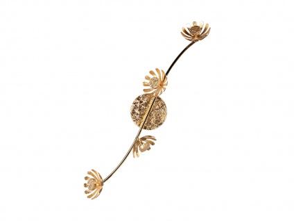Vierflammige florentiner Blumen Motiv LED Deckenleuchte aus Metall in Blattgold - Vorschau 4