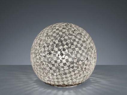 Glaskugel Tischlampe im Tiffany Design Silber Nachtlicht zum Einschlafen mit LED