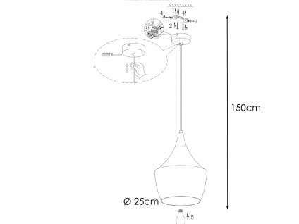 Retro LED Pendelleuchte mit Metall Schirm in Braun Ø 25cm - Esstischlampen - Vorschau 4