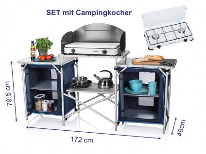CAMPING KÜCHE faltbar mit Gaskocher Outdoor Campingschrank Camper Party Küche