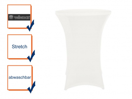 Hochwertige STRETCH Stehtisch-Husse weiß für Ø 80 x 110 cm, Bistrotisch Hussen
