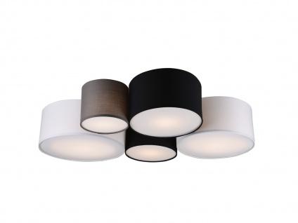 Ausgefallene mehrflammige LED Deckenlampe mit verschiedenen Stofflampenschirmen - Vorschau 2
