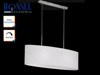 LED Pendelleuchte dimmbar, Stoffschirm oval weiß Dekor, E27 Pendel Esstischlampe - Vorschau 1