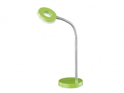 Schöne LED Schreibtischlampe mit Flexarm in Grün-silber Tischleuchte für Büro