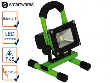 10 Watt LED Baustrahler tragbar mit Akku IP65, Fluter Arbeitsscheinwerfer