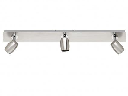 Deckenstrahler Nickel matt 3 Spots schwenkbar mit GU10 LED - Wohnraumleuchten