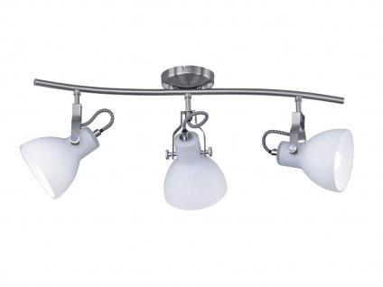3-fl. LED Strahler mit dreh+ schwenkbaren Spots in Nickel matt weiße Glasschirme - Vorschau 2