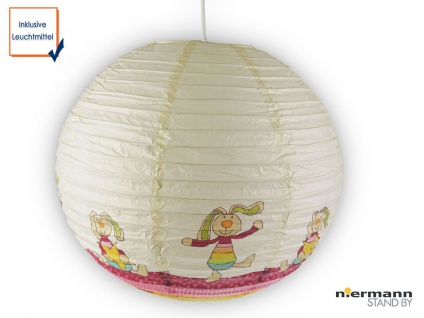 LED Kinderlampe Papier Lampenschirm RABBIT Lampion Hängeleuchte Kinderzimmer