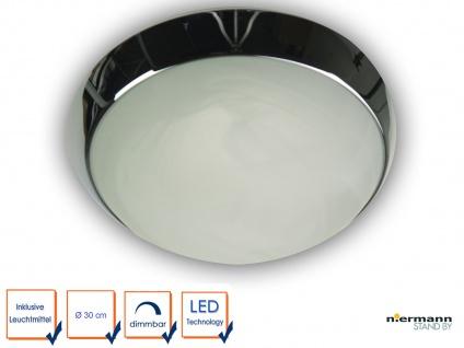 LED-Deckenleuchte, Wohnraumleuchte Glas Alabaster, Dekorring in Chrom, Ø 30cm