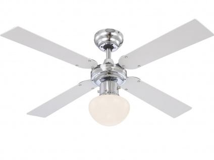 Deckenventilator mit Licht & Zugschalter, Chrom, 2 Flügelfarben silber/weiß, 50W