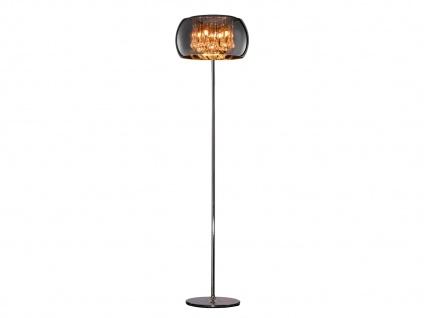 Standlampe mit runden Glas Lampenschirm, bedampft & Metall chromfarbig Ø 40 cm