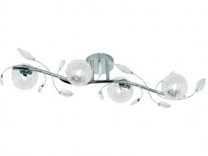 LED Deckenleuchte 4 flammig Alu Drahtgeflecht mit Blättern Silber Chrom 80x28cm