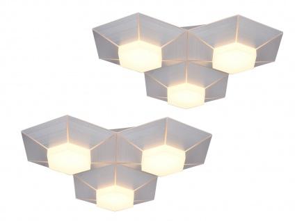 Dimmbare 3 flammige LED Deckenlampen Aluminium gebürstet 2er Set fürs Wohnzimmer