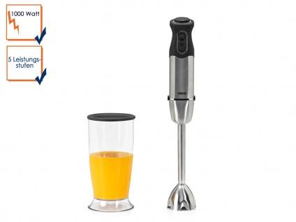 Edelstahl Stabmixer Pürierstab mit 800 ml Mixbecher 1000W 5 Stufen 2 Klingen