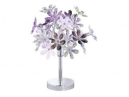 Florale LED Tischlampe Chrom Acrylglas Ø33cm mit bunten Blüten, Wohnzimmerlampe