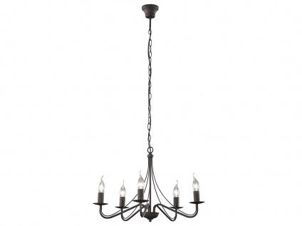 LED Kronleuchter 5 flammig aus rostfarbigem Metall für hohe Räume Esstischlampe - Vorschau 2