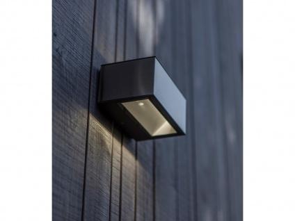 Hochwertige LED Außenwandleuchte ALU Silber mit Up and Down Außenleuchten, eckig