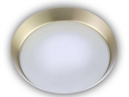 Decken Leuchte rund Glas satiniert mit Klarrand Messing matt Dielenlampe Ø35cm