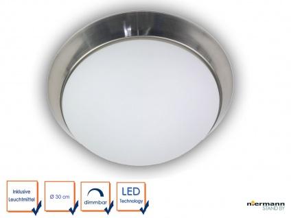 LED Deckenleuchte rund, Opalglas matt, Dekorring Nickel matt, Ø 30cm Wandlampe