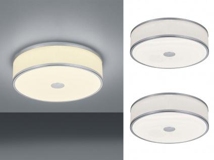2 LED Deckenleuchten Ø40cm mit weißem Stoffschirm Nickel matt mit SWITCH DIMMER
