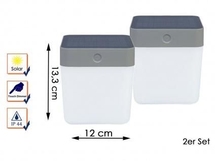 2 Solar LED Leuchten Silber 3-Stufen Dimmer H. 13, 3cm IP44 Terrassenbeleuchtung
