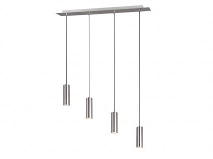 4 flammige Pendelleuchte für Wohnzimmer, Schlafzimmer, Küche Nickel matt Metall