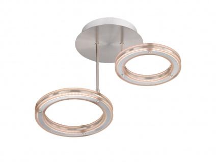 2 flammige LED Deckenlampe Design Ringe mit Fernbedienung, dimmbar & Farbwechsel