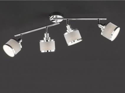 LED Deckenstrahler runde Lampenschirme aus Stoff 4 Spots schwenkbar Deckenlampen