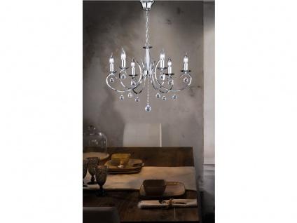 Designklassiker Kronleuchter Lüster Chrom mit Glas 6flammig Ø62cm Kerzen stehend - Vorschau 4