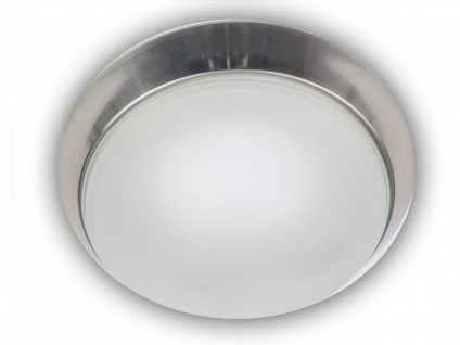 Deckenleuchte, Glas satiniert, Dekorring Nickel matt, Ø 25cm, Niermann
