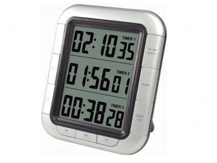 Digitaler Kurzzeitwecker, Kurzeitmesser 3 x Countdown-Timer, silber - Vorschau 2