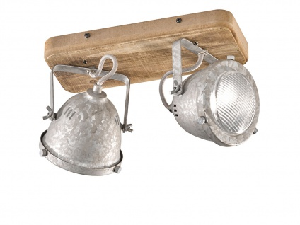 Industrial LED Deckenstrahler 2flammig mit Holzbrett Metall Silber Antik dimmbar