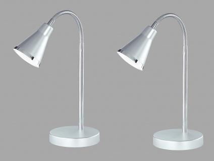2er SET schöne LED Tischleuchte mit Schirm Silber Schreibtischlampe mit Flexarm