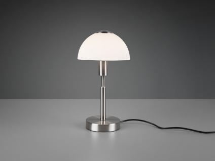 LED Tischleuchte mit Touch Dimmer, Fuß in Silber matt & Opalglasschirm Höhe 33cm