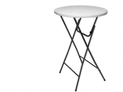 Robuster STEHTISCH klappbar Ø80cm weiß mit Stretch-Husse Beige, Klapp Tisch - Vorschau 3
