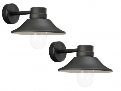 2er-Set LED Außenwandleuchten VEGA schwarzes Aluminium dimmbar, 700Lm