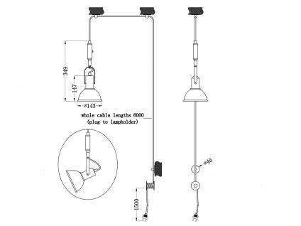 Silber antike Pendellampe mit Kabel & Stecker für Steckdose - Schirm schwenkbar - Vorschau 3