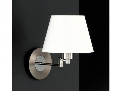 Wandleuchte Bettlampe Silber mit Schalter & Lampenschirm Stoff Weiß verstellbar - Vorschau 1