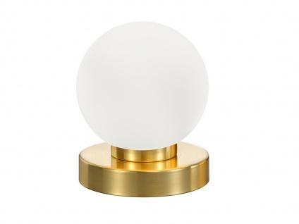 LED Tischlampe Kugel Messing mit GLAS Schirm weiß Touch Dimmer Wohnraumleuchte - Vorschau 2