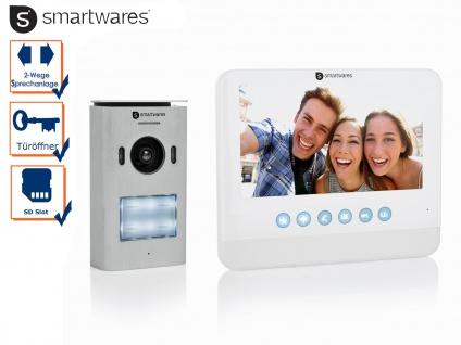 Video Türsprechanlage Einfamilienhaus, Gegensprechanlage mit Kamera + 7 Zoll LCD