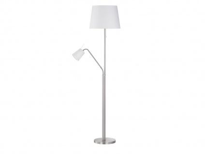 Klassische Honsel Stehleuchte mit flexibler Leselampe, Lampenschirm Stoff weiß